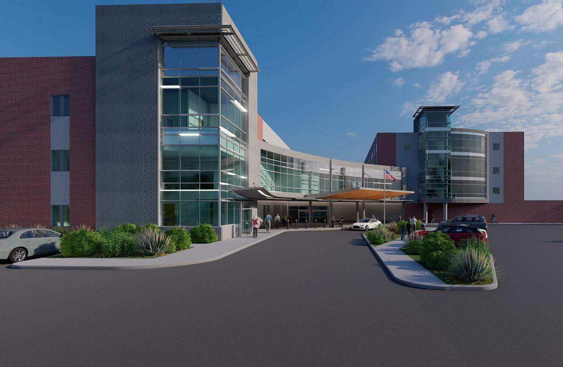 Front of hospital rendering